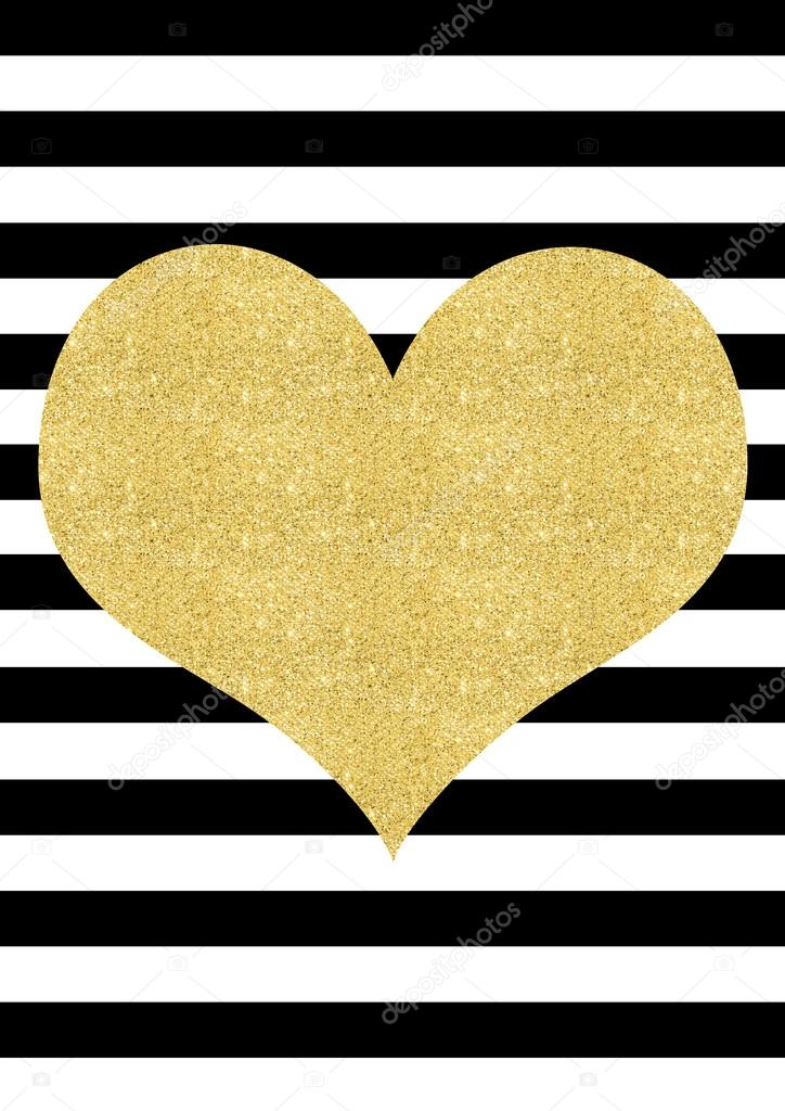 Gold glitter effect heart black and white striped background — Stock ...