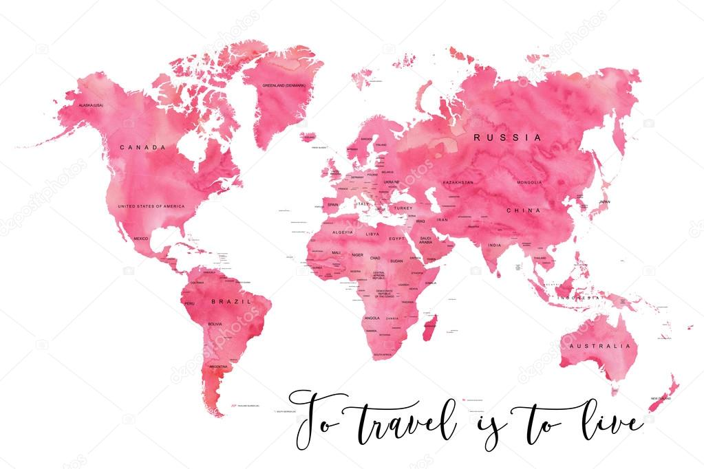 World Map Filled With Pink Watercolour Effect Stock Photo