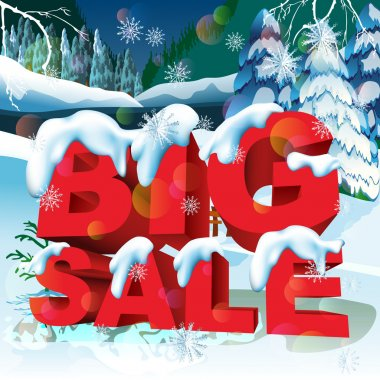 Big sale word. Winter holidays landscape.