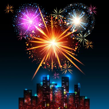 Fireworks Display over the Night City,