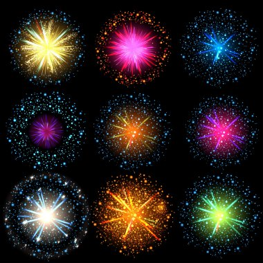 Collection of Colorful fireworks, sparklers, salute and petards explosions