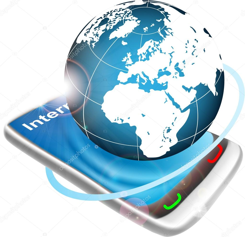 telefoon met globe — Stockvector © palpitation #52945319