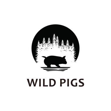 Wild pig logo icon silhouette icon