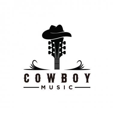 Guitar and hat inspiration symbol Cowboy logo icon