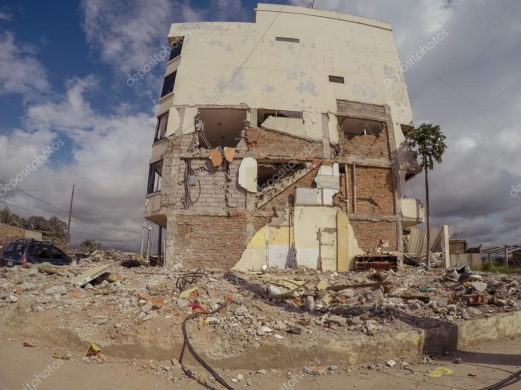 collapse of cities from earthquake ecuador south america stock