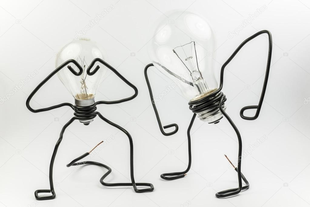 Fantasy figure of a light bulb and wire — Stock Photo © tofotografie ...