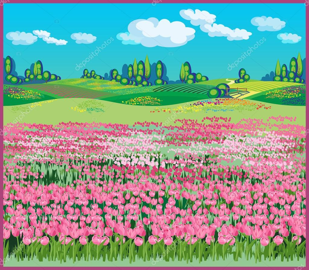 picturesque country landscape with tulips