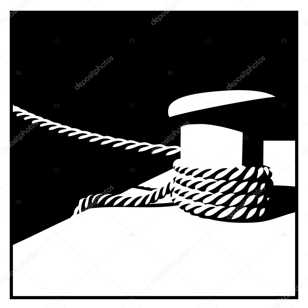 Knecht and mooring ropes  black and white