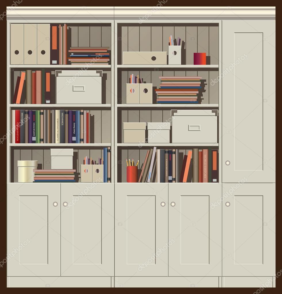 Книжный - шкаф - бесшовный - горизонтальный - книгах - файла.