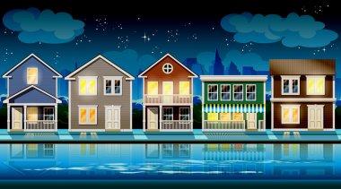 suburb at night