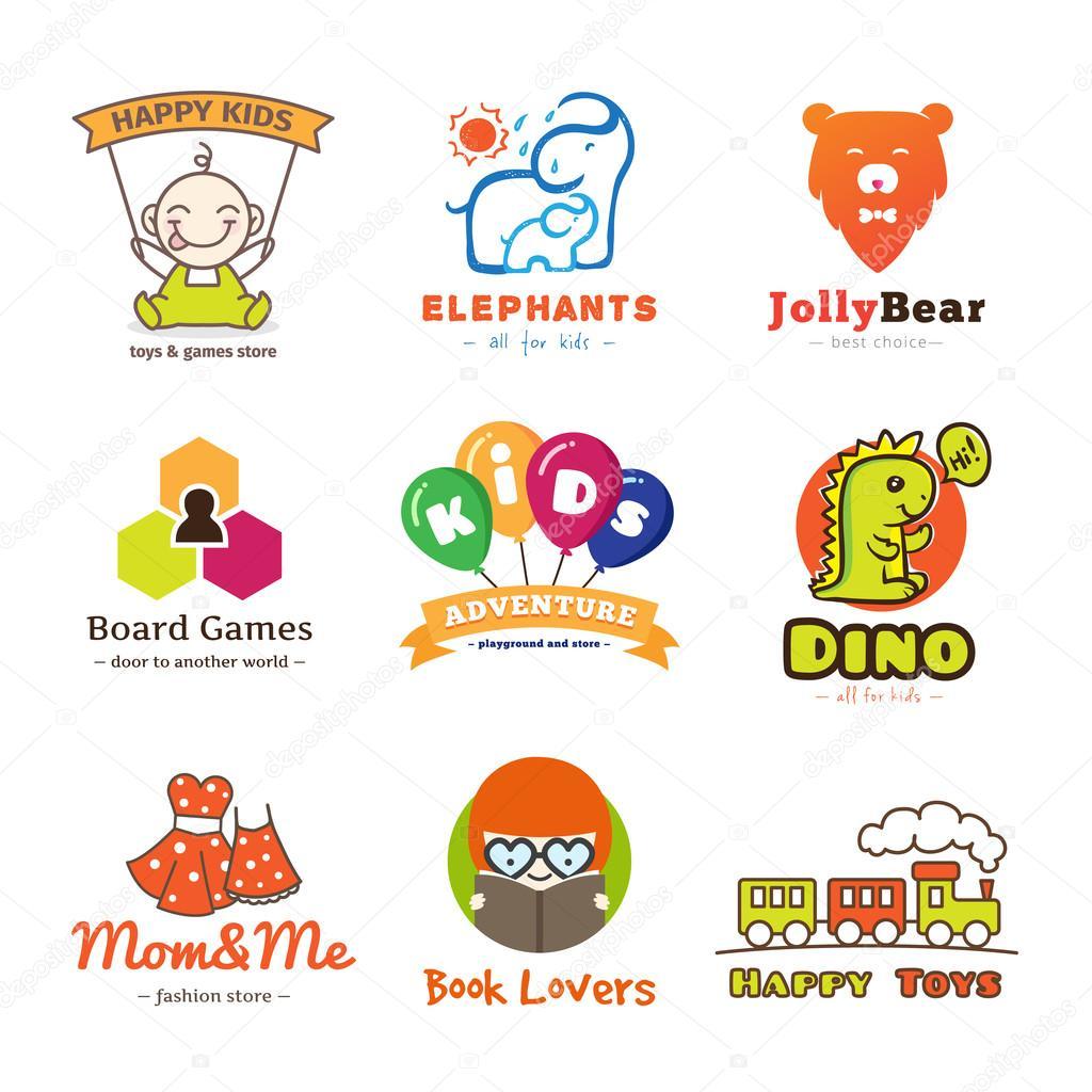 Set of vector children goods logos.