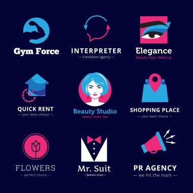 Set of bright modern logos.