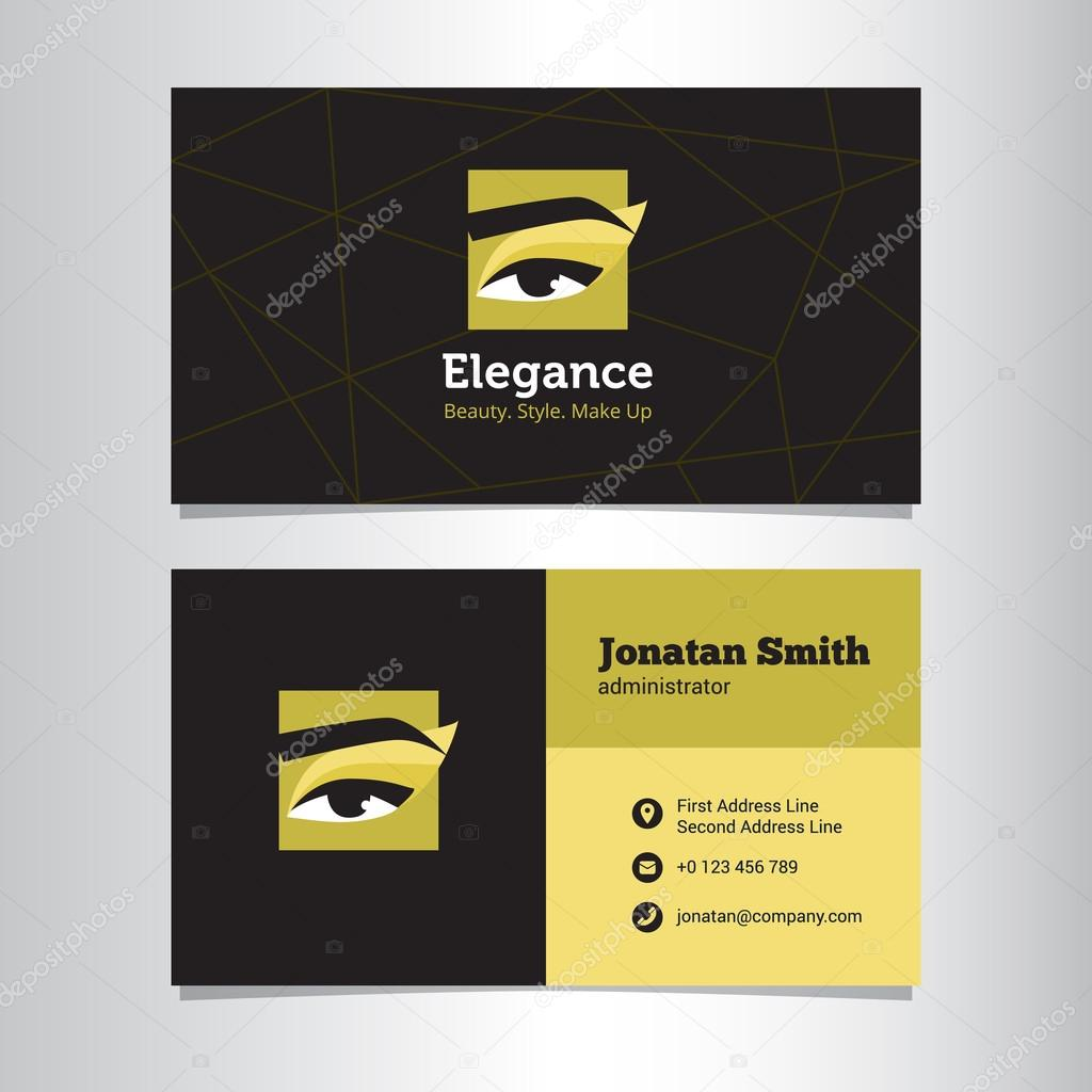 Vector business card template with make up studio logo