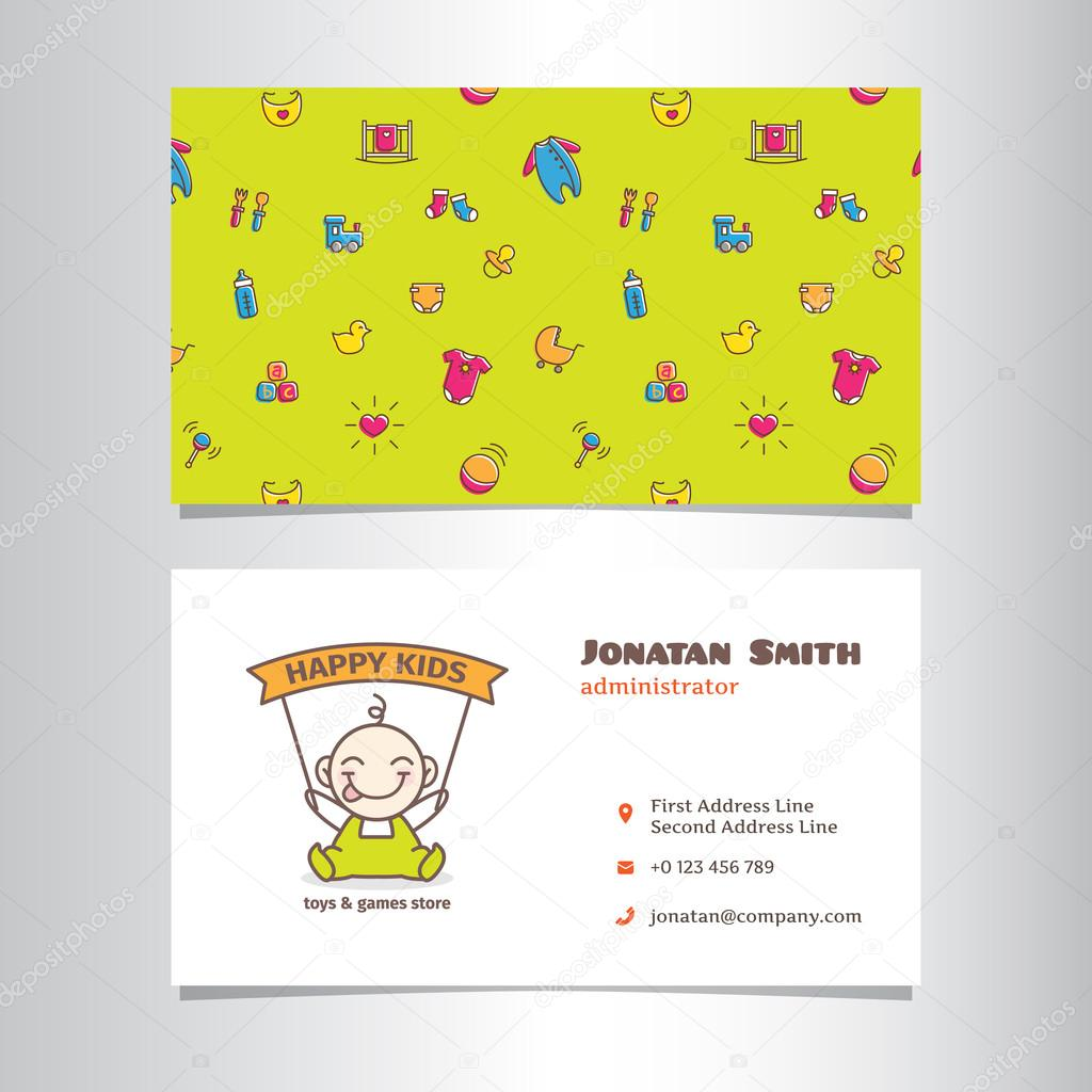 Vector business card template with cute baby shop logo — Stock ...