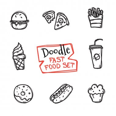 Vector doodle style fast food set. Cute hand drawn collection of fast food icons
