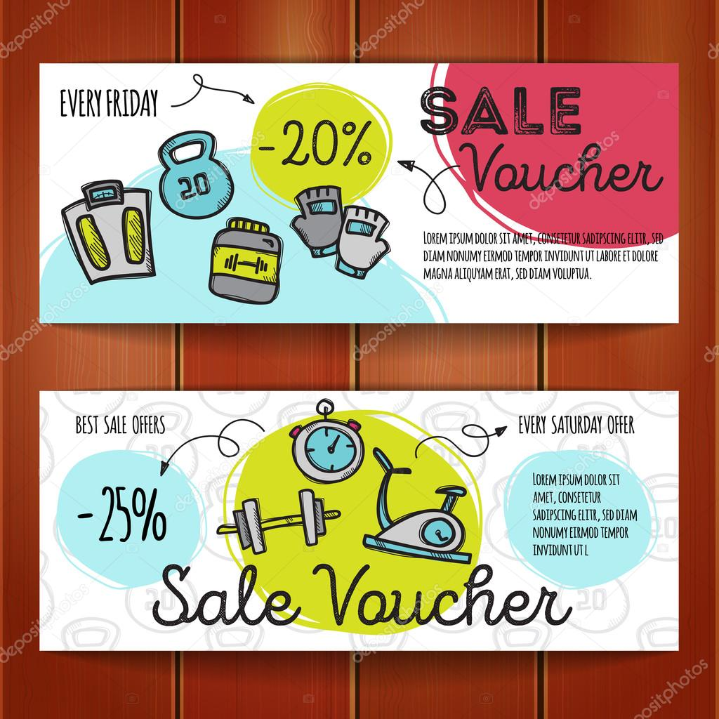 Vector set of discount coupons for sport accessories. Colorful doodle style discount voucher templates. Gym and fitness equipment promo offer cards.