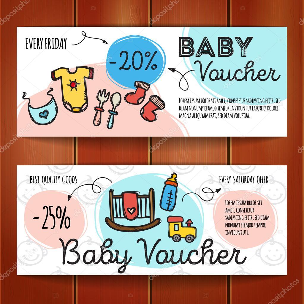 Vector conjunto de cupones de descuento para productos de bebé ...