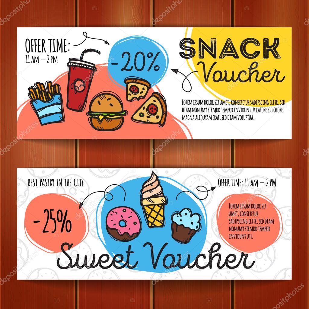 Vektor festgelegt von Rabatt-Coupons für Fast-Food und Desserts ...