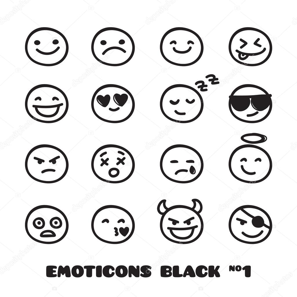 vector cute doodle style emoticons collection black and. Black Bedroom Furniture Sets. Home Design Ideas