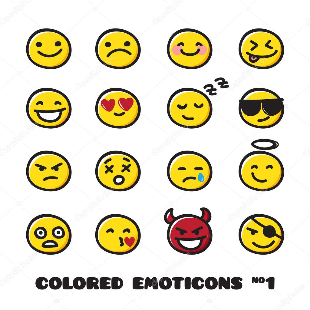 Vector cute doodle style emoticons collection. Black and white emoji set. Emotion icons.