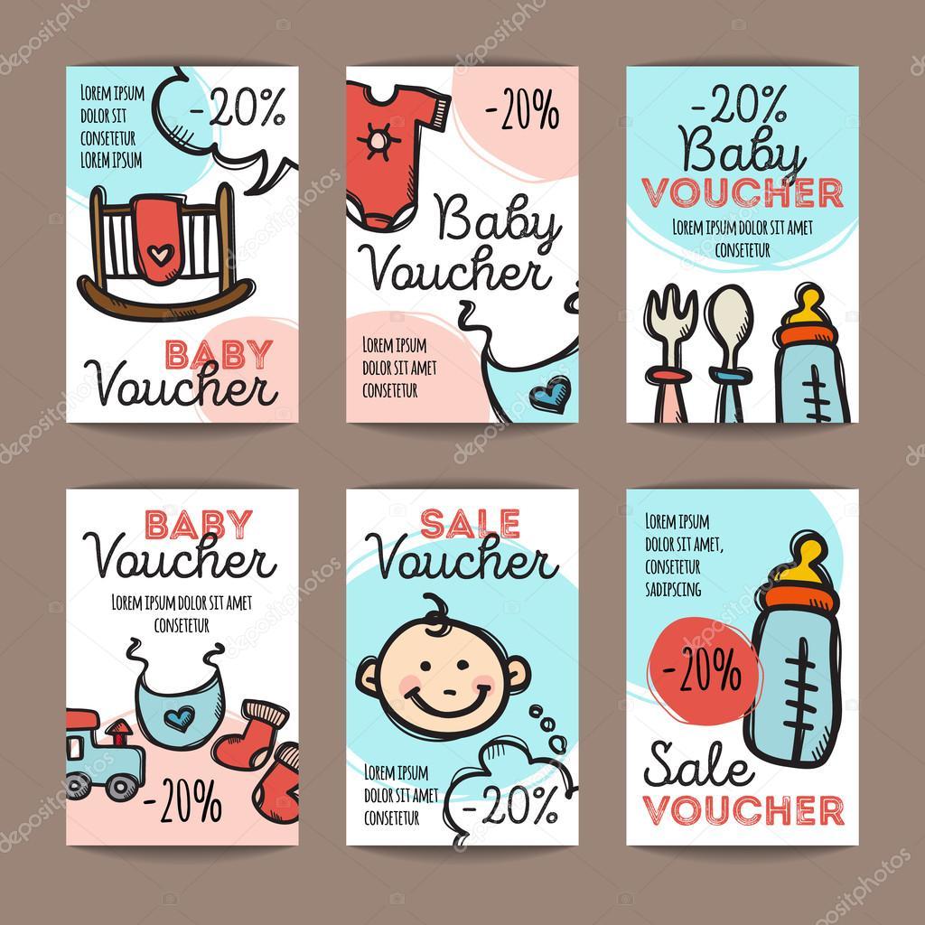 Vektor festgelegt von Rabatt-Coupons für Baby waren. Bunte doodle ...