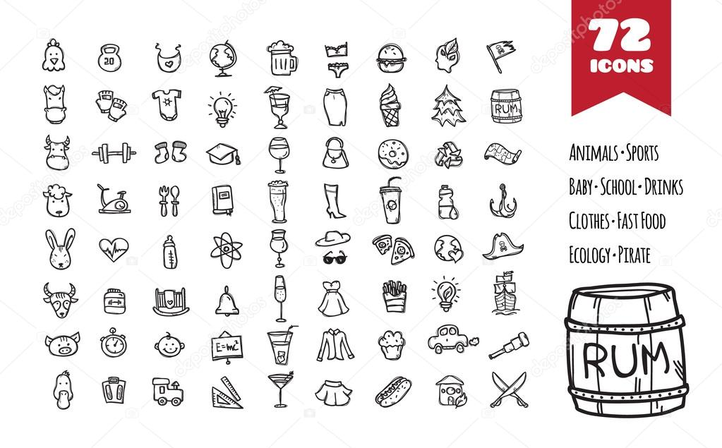 Vector doodle style big icons set.