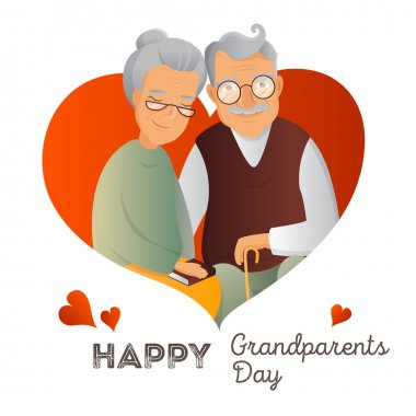 Grandparents Day vector design template. Illustration with grandfather and grandmother. Cute old couple greeting card.