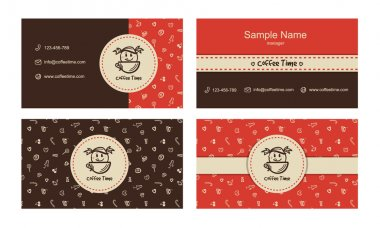 Bakery logo, business card, sweets pattern
