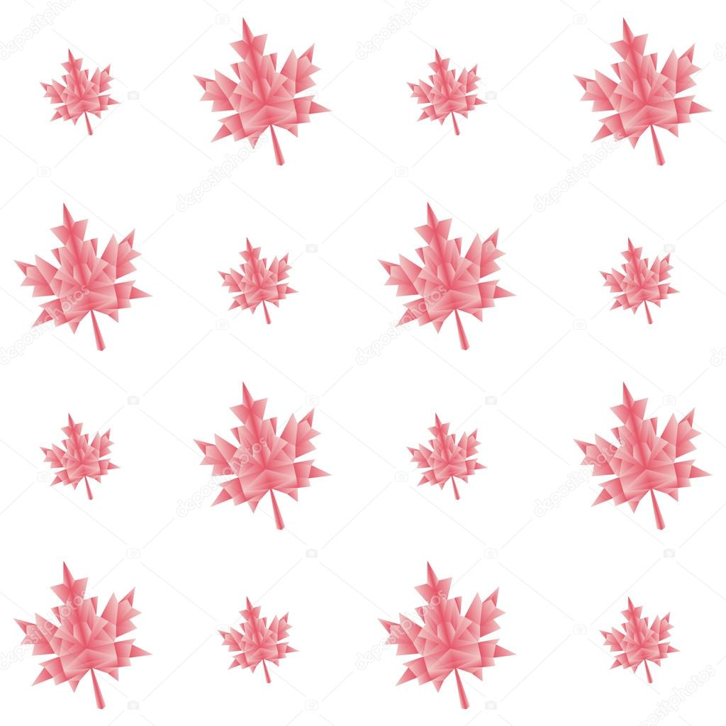 Vector autumn polygonal maple leaves seamless pattern