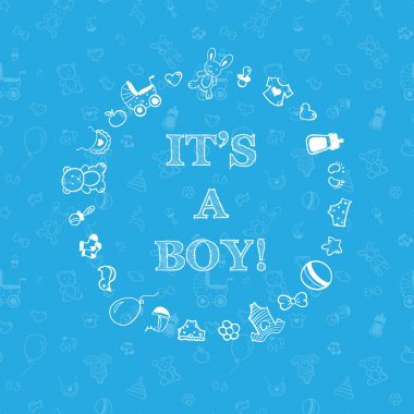 Vector baby shower design over blue background with seamless pattern