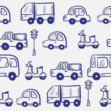 Vector hand drawn doodle cartoon cars seamless pattern