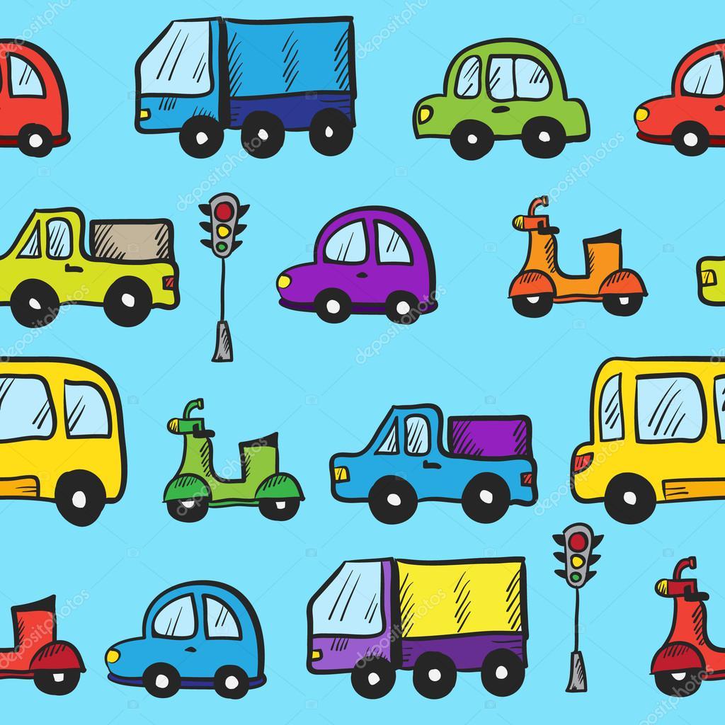 vetorial mão colorido doodle desenhado desenho animado carros sem