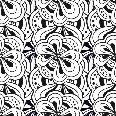 Vector doodle hand drawn abstract black and white seamless pattern