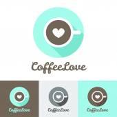 Fotografie Vector modern flat coffee shop or cafe logo