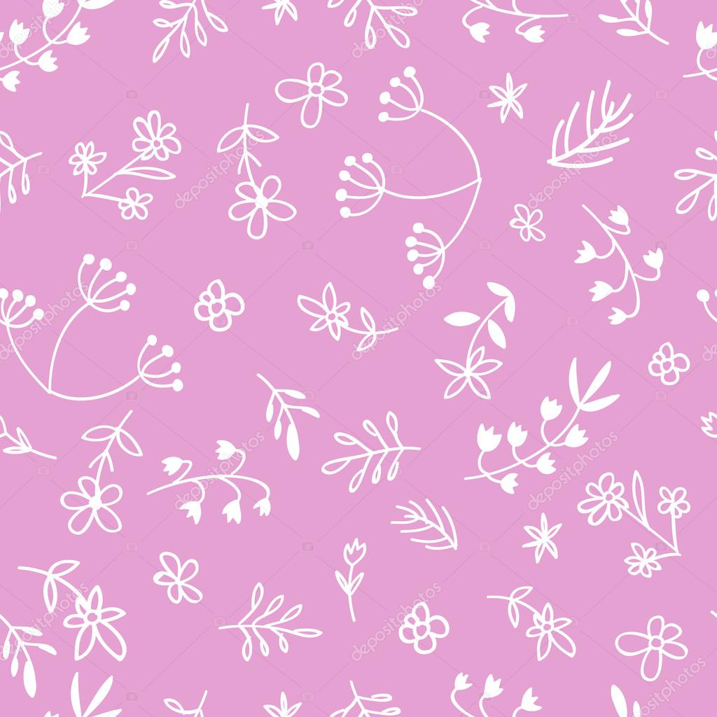 Vector hand drawn doodle flower seamless pattern