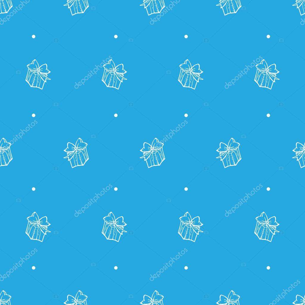 Vector hand drawn gift box seamless pattern
