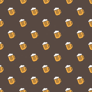Vector bright beer mug seamless pattern