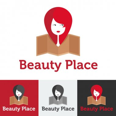 Vector flat beauty shop or spa salon logo set
