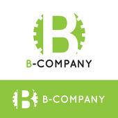 Photo Vector minimalistic green B letter logotype. Cogwheel logo