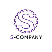Fotografie Vector minimalistic outline violet S letter logotype. Cogwheel logo