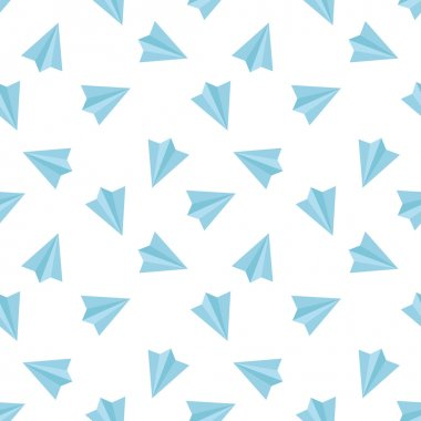 Vector flat minimalistic paper planes seamless pattern