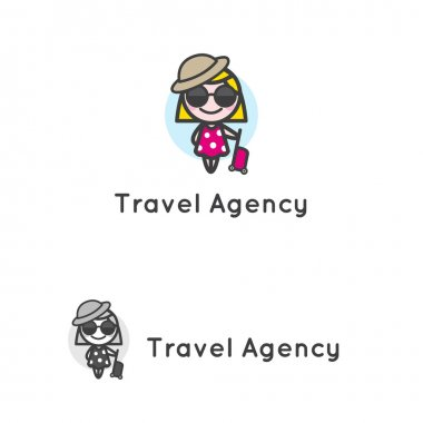 Vector minimalistic young girl in sunglasses with luggage character. Travel agency logotype.