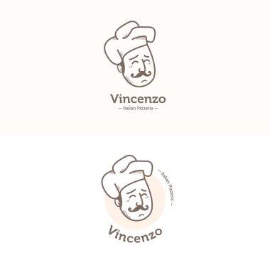 Vector Italian cook head mascot logotype. Pizzeria logo set.