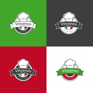 Vector retro badge for pizza restaurant. Italian restaurant logotype set.