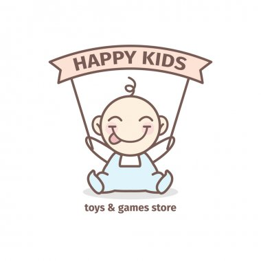 Vector baby logotype. Toys and games store logo in tender colors