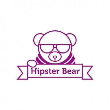 Vector hipster bear in sunglasses outline logotype