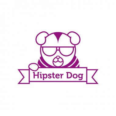 Vector hipster dog in sunglasses outline logotype
