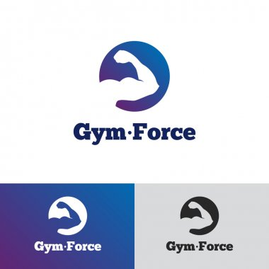 Vector minimalistic gradient gym logo. Fitness badge logotype