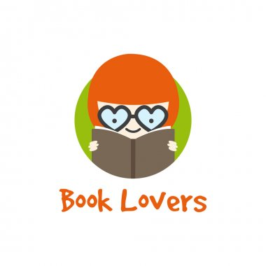 Vector funny girl in glasses logotype. Book store logo.