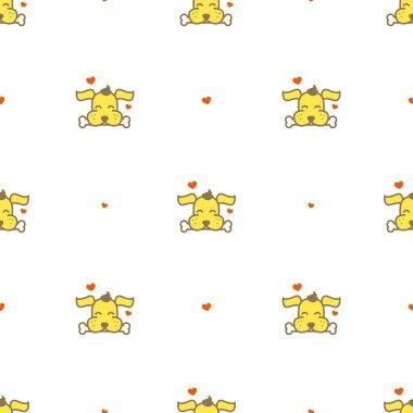 Vector cartoon yellow dog with a bone seamless pattern